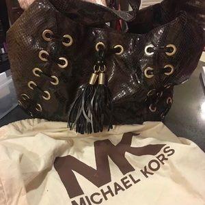 Michael kors brown snake skin hobo bag
